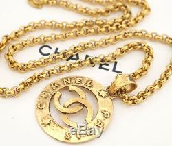 CHANEL Paris CC Logos Necklace Pendant Gold-tone Authentic Gorgeous Vintage