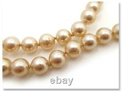 CHANEL Pearl Chain Lariat Necklace 51 Silver tone CC Logos