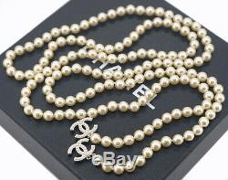 CHANEL Pearl Chain Lariat Necklace 51 Silver tone CC Logos x653