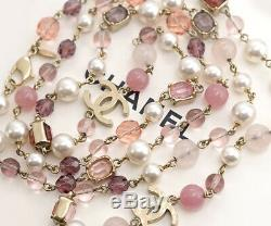 CHANEL Pink Gripoix Stones CC Logos Necklace 59 inch long 07A w3587