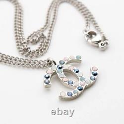 CHANEL Rhinestone CC Logos Necklace Pendant Authentic Silver-tone e4410