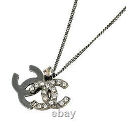 CHANEL Rhinestone CC Logos Pendant Necklace Silver-tone