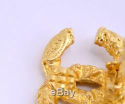 CHANEL Tassel Fringe Dangle Earrings Gold Clips 93A withBOX Vintage