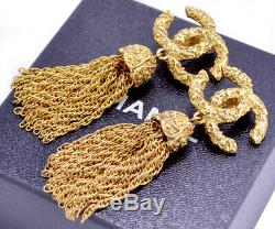 CHANEL Tassel Fringe Dangle Earrings Gold Clips 93A withBOX excellent! #6469