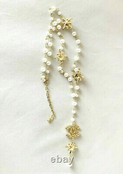 CHANEL VIP Gift Beauty CC logo With Pearls and Crystals Gold Tone Metal Necklace