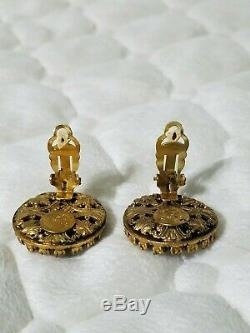 CHANEL Vintage Gold Pearl Rhinestone Clip Earrings Made in France RARE! MUST SEE