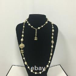 CHANEL White Pearl Bronze 3 CC Gold Necklace Classic 50 Inch Chain Necklace