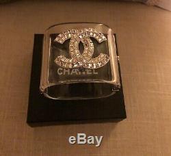 CHANEL Wide Clear Cuff Crystal Bracelet CC Logo