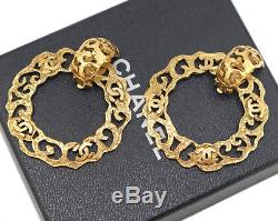 CHANEL logo Hoop 2 way Dangle Earrings Gold Clips Vintage withBOX #1928