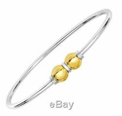 Cape Cod Jewelry 925 Sterling Silver and 14K Gold 2 Ball Screw Bracelet Size 7