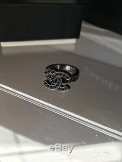 Chanel 100% Authentic Black Antique Crystal CC Monogram Ring BEAUTIFUL