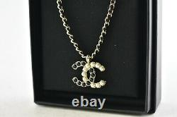 Chanel 20B Gold Pearl Black Crystal CC Logo Statement Pendant Chain Necklace