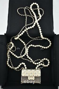 Chanel 21S Runway Pearl Chain Bag Gold Metal CC Logo Statement Pendant Necklace