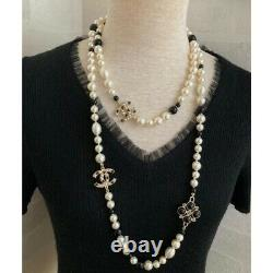 Chanel Bicolor Pearl long Necklace CC Mark CoCo Logo Authentic Rare WithBox F/S