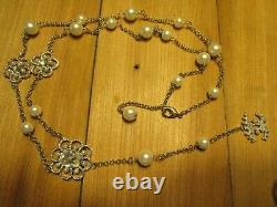 Chanel Camellia Flower CC Logo Pearl And Crystal Necklace