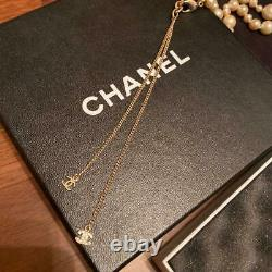 Chanel long pearl COCO mark necklace white, gold color with box