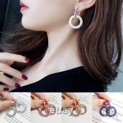Chic Geometric Luxury Round Earrings Crystal Hoop Earrings Jewelry Women Gift
