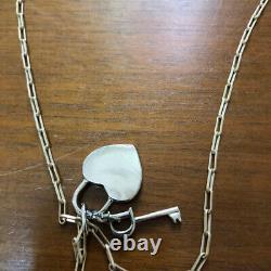 Christian Dior Logo Silver Heart Key Rhinestone Pendant Necklace
