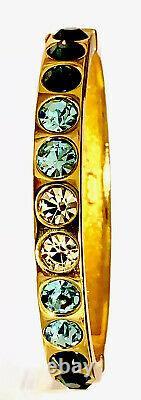 Christian Dior Signed Gold Tone Locking Hinged Bracelet Blue Stones