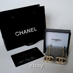 Classic Chanel CC Stud Pearl Drop Earrings With Box and Bag