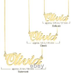 Classic Name Necklace Solid 14k Yellow Gold Any Name Personalized Pendant