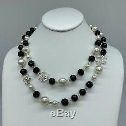Classic White Black Faux Pearl Rhinestone CC Necklace