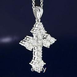 Cross Pendant 0.80 Carat Round Cut Diamond 14K White Gold Finish