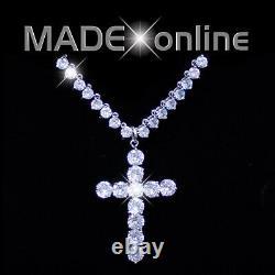 Cross Tennis Necklace, Cubic Zirconia Crucifix, CZ Bling