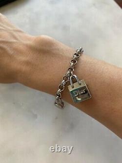 DIOR Bracelet Logo Charms Authentic Dior Beauty Monogrammed Silver Bracelet