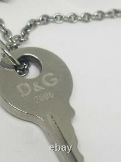 D & G Dolce & Gabbana Rare Layered Silver Tone Necklace Key Cross Charms 2006