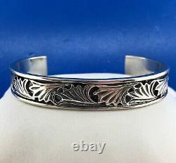 Designer Mignon Faget Sterling Silver 925 Acanthus Cuff Bangle Bracelet