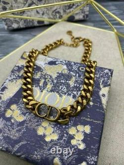 Dior Necklace Choker Vintage CD Logo Women Brass Authentic New Gift Box