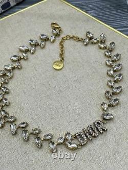 Dior Necklace Choker Vintage Women Brass Cubic Zirkonia Authentic New Gift Box