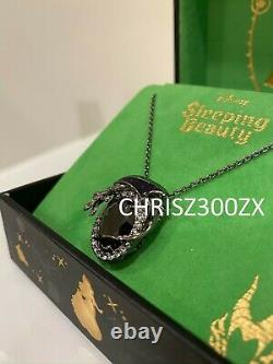 Disney Sleeping Beauty Maleficent Dragon Silver Crystal Pendant Necklace + Chain