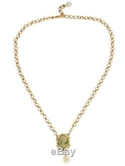 Dolce & Gabbana Golden Brass Pearl Floral Crystal Necklace