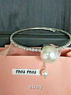 EXQUISITE Sign MIU MIU Made in ITALY Crystal & Pearl Choker Necklace