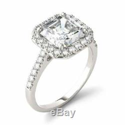 Engagement Wedding Halo Ring 14k White Gold Over 1.20 Ct Asscher Cut Diamond