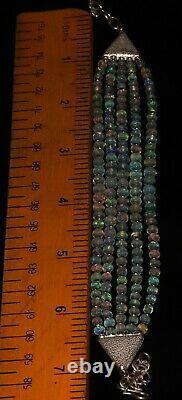 Ethiopian welo fire Opal with 925 Sterling Silver 5 Strand Beads Bracelet
