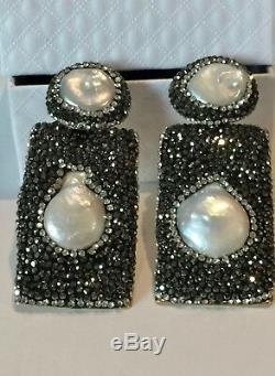 Exquisite Fresh Water Pearl Long Earrings made w Swarovski Crystal Black Pave