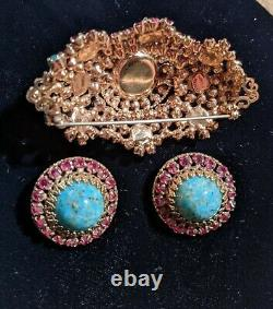 Exquisite Large Signed Rare Schreiner Brooch & Earring Set Beautiful multi stone