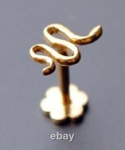 Flatback Tragus gold Snake Earring Solid 14k Gold Over Tragus stud Earring Gift