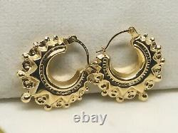 GENUINE Victorian Style Gypsy Spyky Creole Hoop Earring 9K Yellow Gold 20MM