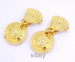 GIANNI VERSACE Medusa Dangle Earrings Gold Tone Excellent v1733