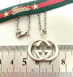GUCCI Interlocking GG Logo Pendant Necklace Sterling Silver SV925