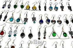 Garnet & Mix stone Wholesale Lot 100pair 925 sterling Silver Overlay Earrings