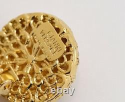 Gianni Versace Rhinestone Circle Dangle Clip-On Earrings Gold-tone #6