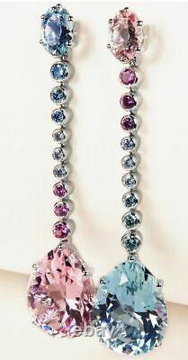 Gorgeous Aquamarine, Tourmaline & Amethyst 34CTW Water Drop All Occasion Earring