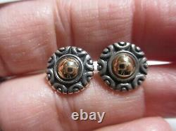 Gorgeous Retired James Avery Sterling & 14k Yg Button Style Earrings-no Res
