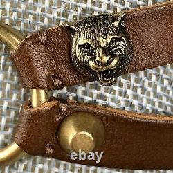 Gucci Brown Leather Choker Feline Head Brass Double Necklace Buckle Panther Cat