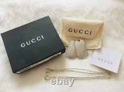 Gucci Dog Tag Plate Necklace double Sterling Silver 925 Beautiful withPouch Box